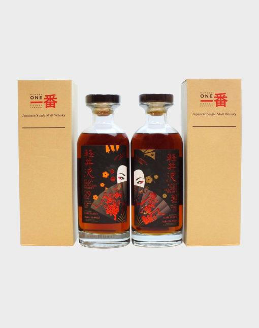 Karuizawa 29 Year Old Bourbon and 30 Year Old Sherry Geisha Labels