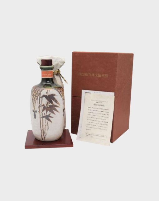 Suntory Special Whisky Oribe Shochiku Meishi Bunmei Tokuto bottle pottery box with pedestal